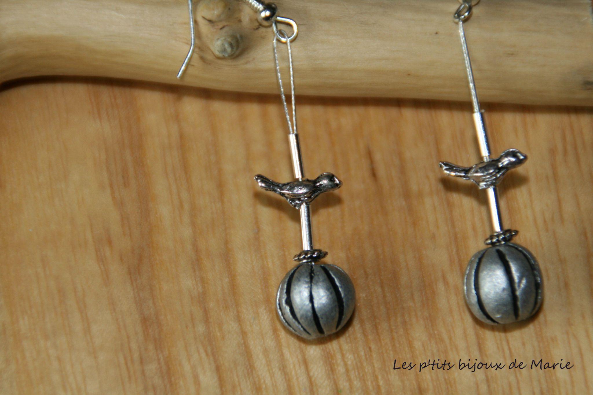 Boucles petit oiseau argent