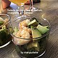 Salade de crevettes et pomelo, vinaigrette au Campari
