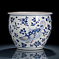 A blue and white and copper-red decorated fish and water plant jardinière, <b>17th</b> <b>century</b>