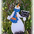 bonhomme de neige écharpe bleue