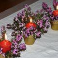 pots à cactus et bruyère fleurie , 1 bougie ronde