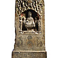 A rare limestone votive stele, tang dynasty, dated 1st year of the tiaolu reign (in accordance with 679)