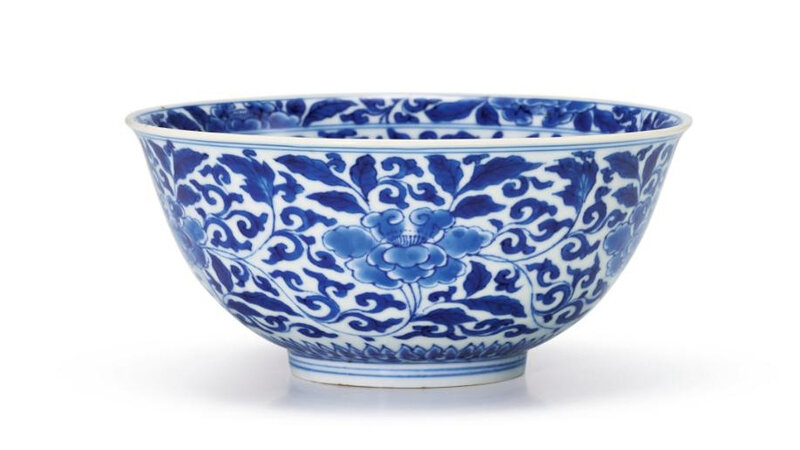 A blue and white 'Peony' bowl, mark and period of Kangxi (1662-1722)