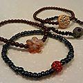 bracelets perles de verre peintes/rocailles/résine/strass, élastique