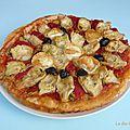 Pizza courgette, artichaut, poivron et chèvre