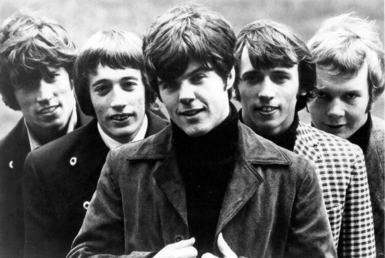 The Bee Gees in 1967 (left to right Barry Gibb, Robin Gibb, Vince Melouney, Maurice Gibb and Colin Petersen)