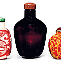 A red overlay glass snuff bottle, an imitation realgar glass snuff bottle and a red glass jarlet, 19th century