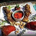 Poivrons rouges, courgettes, pommes de terre, farcis avec un coulis de poivrons