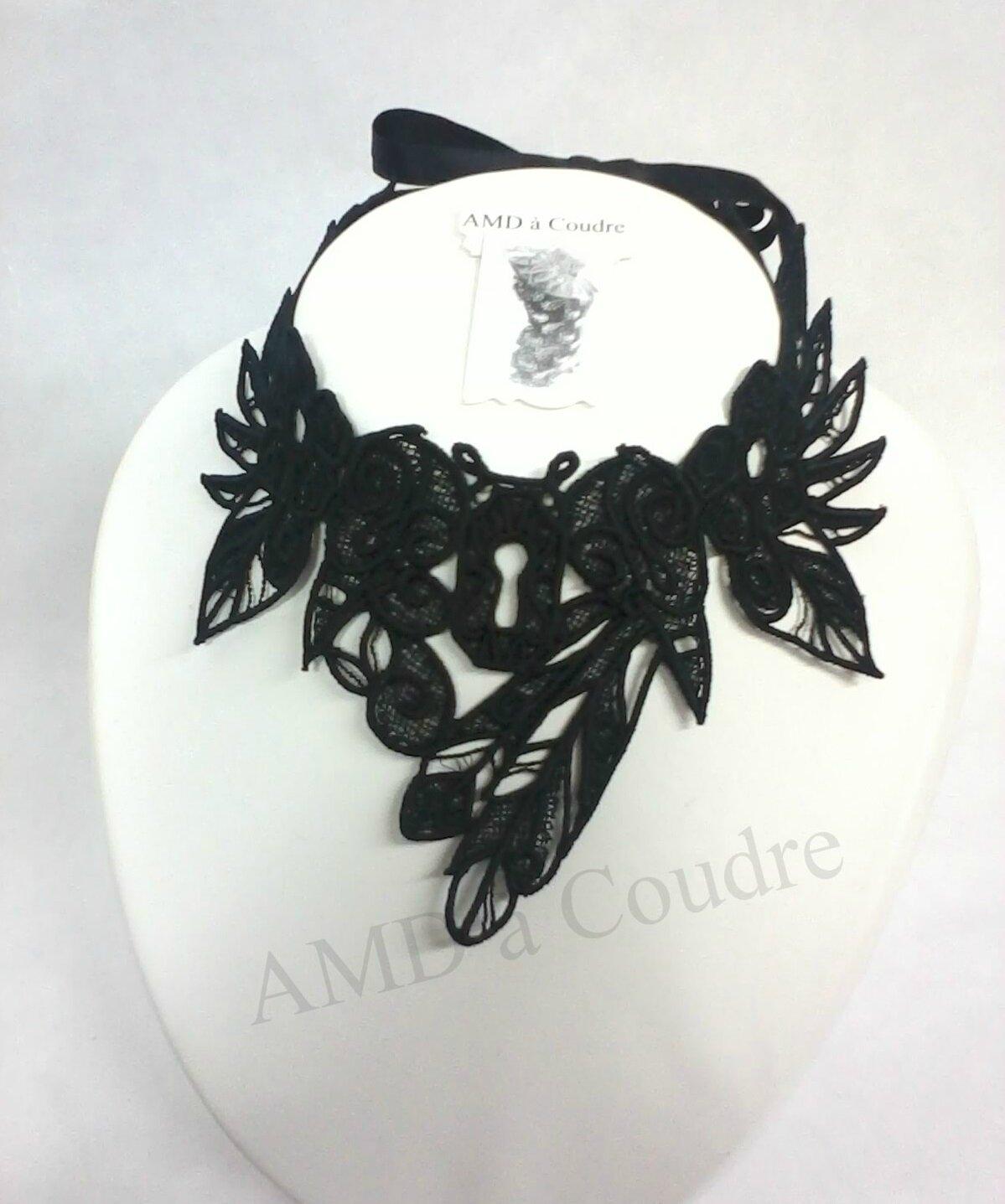 tour de cou, chocker dentelle noire broderie embroidery by amd a coudre (1)-001