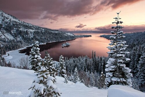 neige lac foret