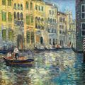 Borchard, A., German <b>Impressionist</b>, 19th C. Canal in Venice.