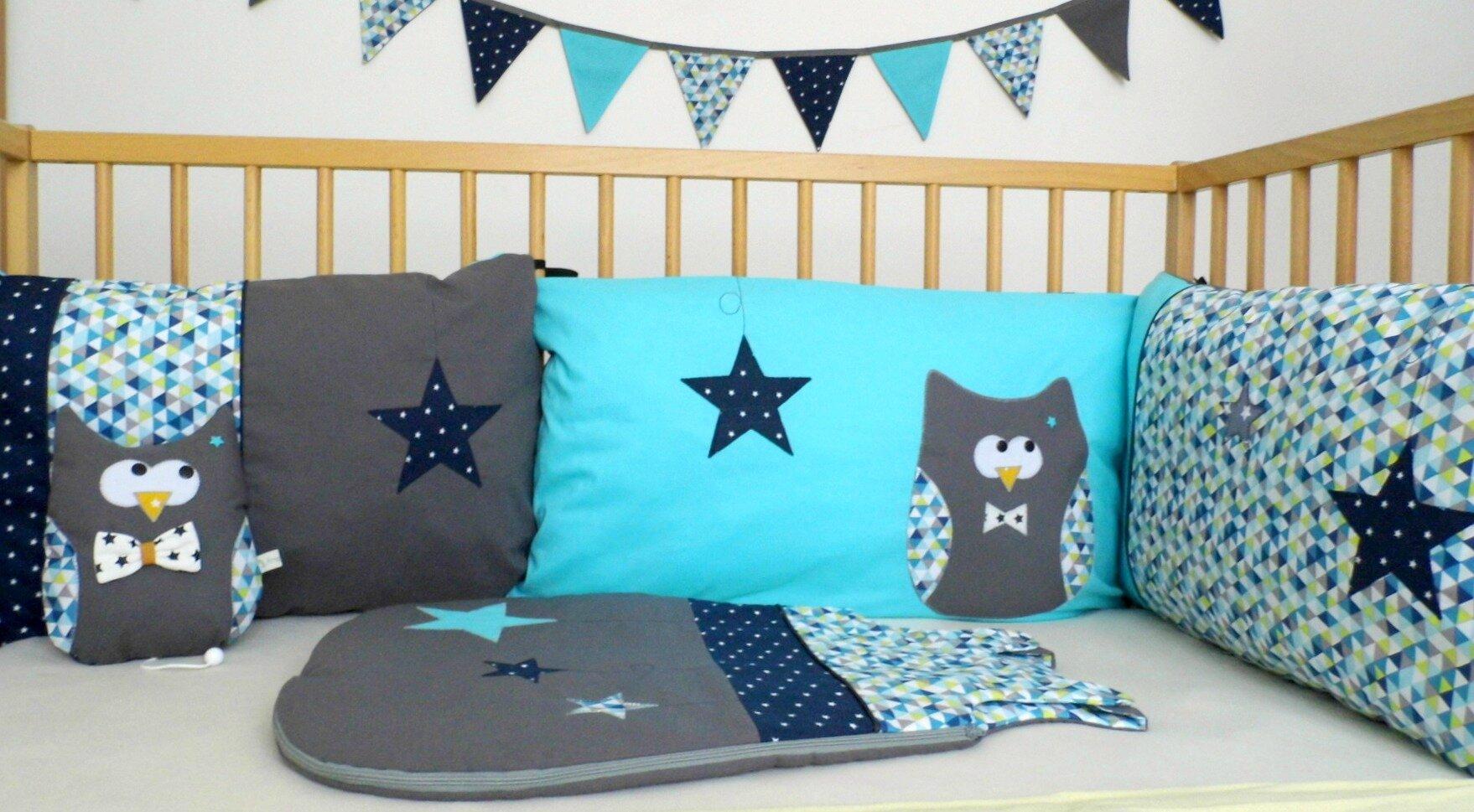 Liste de naissance créateur thême hiboux étoiles gris bleu turquoise