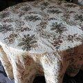 2180 magnifique tapis de table rond tissu soie broché - 250 cm diametre