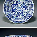 A rare blue and white '<b>dragon</b>' <b>washer</b>. Ming Dynasty, Mark and Period of Wanli (1573-1619)