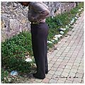 Pantalon large rayé en lainage