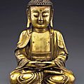 A gilt-bronze figure of Buddha, Ming dynasty, <b>16th</b>-<b>17th</b> <b>century</b>
