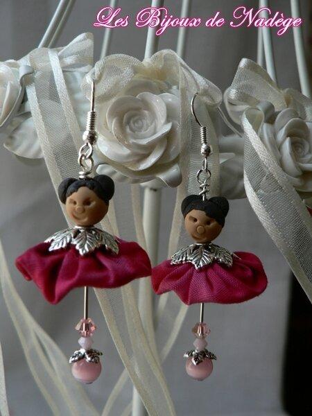 boucles d'oreilles kokeshi rose, les Sakura