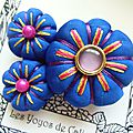 ♥ korella ♥ broche textile japonisante fleurs potirons - les yoyos de calie