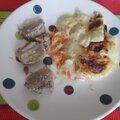 Filet mignon en cocotte , gratin de courge et pommes de terre