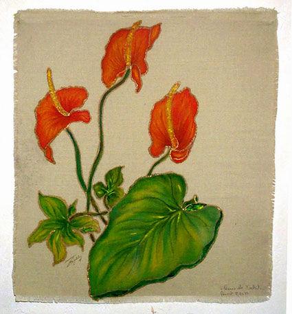 tableau fleurs d 39 anthurium peint sur toile de jute le blog cr atif de mohati. Black Bedroom Furniture Sets. Home Design Ideas