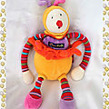 Doudou Peluche Lutin Clown Rouge Orange Jaune <b>Grelot</b> Dragobert Moulin Roty