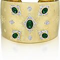 BUCCELLATI.. An Important <b>Emerald</b> and Diamond Gold Cuff Bracelet