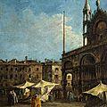 Francesco Guardi (Venise, 1712 - 1793), Vue de la place Saint-Marc, à Venise, <b>vers</b> <b>1760</b>