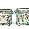 A pair of famille verte <b>wine</b> coolers, Kangxi period (1662-1722)