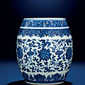 A fine and rare blue and white <b>barrel</b>-<b>form</b> <b>jar</b>, Qianlong six-character seal mark and of the period (1736-1795)