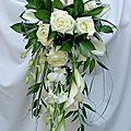 Bouquet de Mariée retombant Calla, Dendrobium, Rose & Ruscus