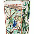 A large famille verte quadrangular vase, Kangxi period (1662-1722)