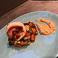 Roulé de Merlan, condiment de tomates et légumes du soleil