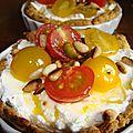 Tartelettes tomates, pistaches, fromages frais