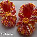 Roselaine chaussons citrouilles tricot 1