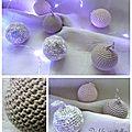 Boules de Noël en crochet détail