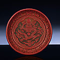 A finely carved late Ming three-<b>colour</b> lacquer dish, Ming dynasty, 16th century