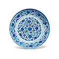 A blue and white 'floral' <b>dish</b>, Yongzheng six-character mark and of the period (1723-1735)