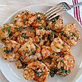 Crevettes sautées ail et persil et spaghettis aux crevettes a l'ail -compilemoi un menu juillet aôut
