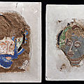 Two fragments of murals on clay mixed with straw, Central Asia, Kizil near Kuqa; 6th-<b>7th</b> <b>century</b>
