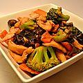 Wok de poulet laqué aux brocolis et <b>champignons</b> <b>noirs</b>