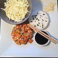 Tartare de saumon et chou blanc à la sauce légère