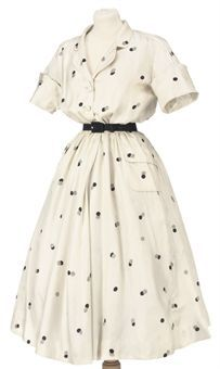 A white spotted silk day dress. Eisa, circa 1950-55. Image 2009