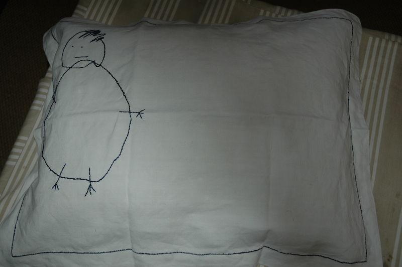 taie d'oreiller brodé du dessin de Constantin