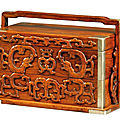 A huanghuali and boxwood two-tiered carry box, <b>Late</b> <b>Ming</b>-<b>Early</b> <b>Qing</b> <b>dynasty</b>