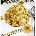 Fideo pesto et crevettes(Grill <b>All</b>-Clad)