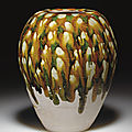 A rare sancai-glazed pottery tall <b>ovoid</b> <b>jar</b>,Tang dynasty (618-907)