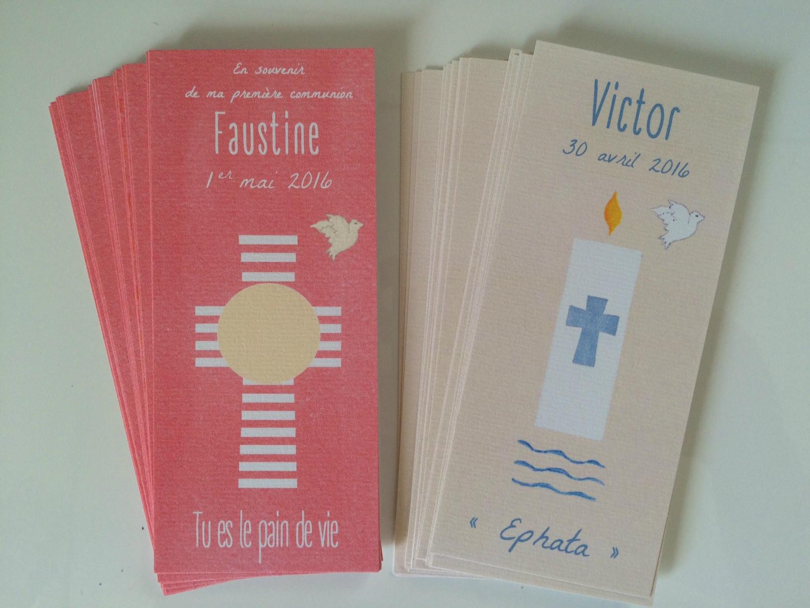 Signets de Communion pour Faustine et signets de baptême pour Victor