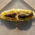 Aiguillettes de canard marinées , gomasio et brunoise de fruits