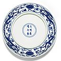 A blue and white 'Dragon' dish, Jiajing mark and period