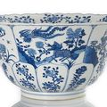 A rare <b>export</b>-<b>style</b> Imperial blue and white Qilin and phoenix decorated porcelain bowl, China, Kangxi six-character mark